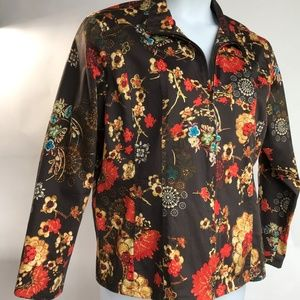 Chico's Zip Front Jacket, Size 3, Floral Design